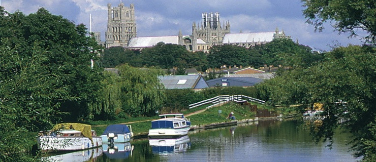 Ely Cathedral overlooking modern businesses like Print My Part