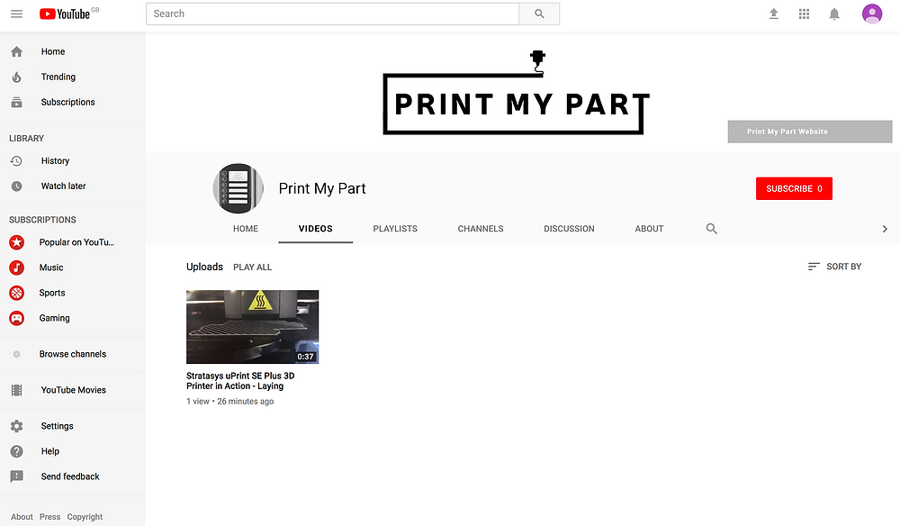 Print My Part 3D Printing Service Youtube Channel