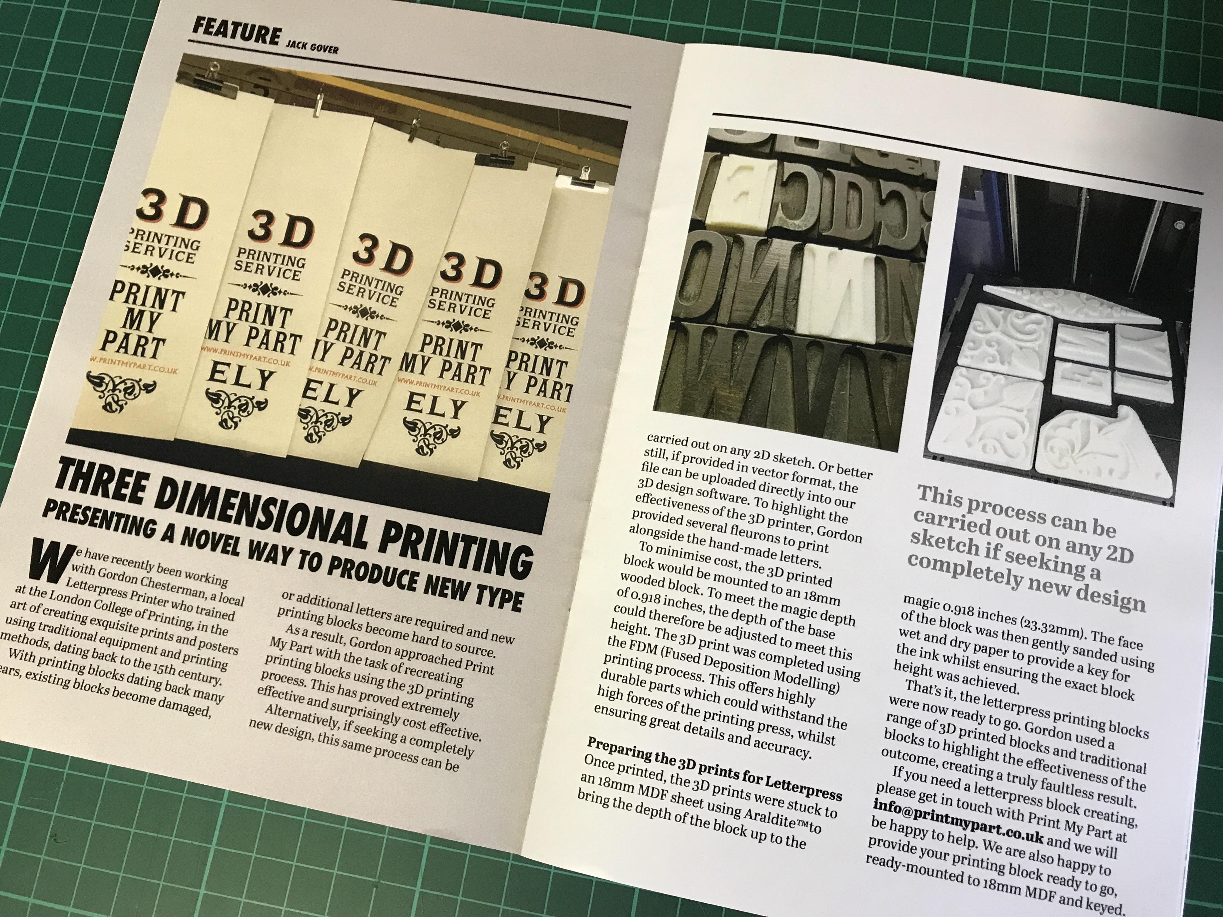 In The Press Small Printer Magazine 3D Printing Letterpress Blocks