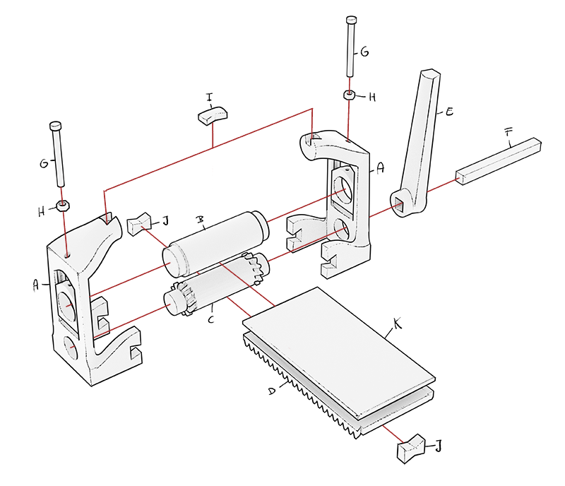 How the the etching press is assembled.