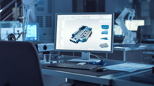 On the Desk Computer With CAD Software and Design of 3D Industrial Machinery Component. In