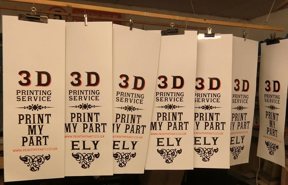 The final result. Letterpress printed posters using 3D printed bespoke letterpress blocks