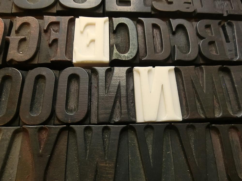 Original and 3D Printed letterpress blocks