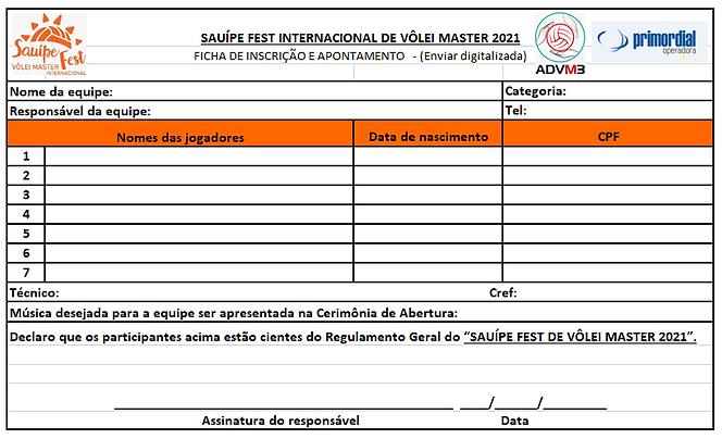 Ficha de Inscrição Masculino - Sauipe Fe