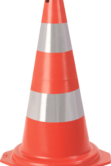 Cone sinalizador PLT laranja e branco