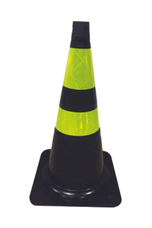 Cone sinalizador preto e amarelo