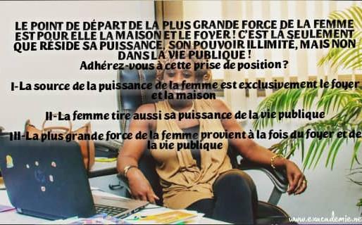 SOG-LE POINT DE DÉPART DE LA PLUS GRANDE FORCE DE LA FEMME EST POUR ELLE LA MAISON ET LE FOYER !