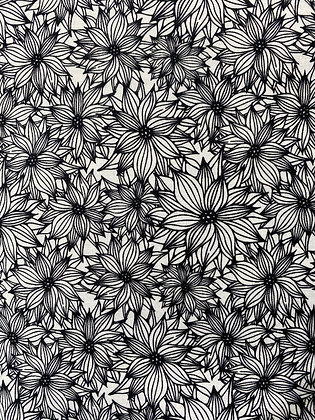 Black and White Funky Floral White 25