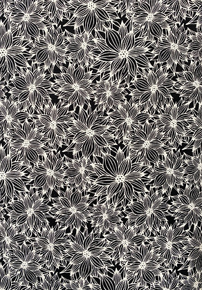 Black and White Funky Floral Black 26
