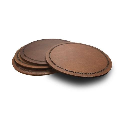 Custom Leather 4 Coaster Set