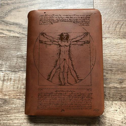 Vitruvian Man Travel Cut - Refillable Leather Folio