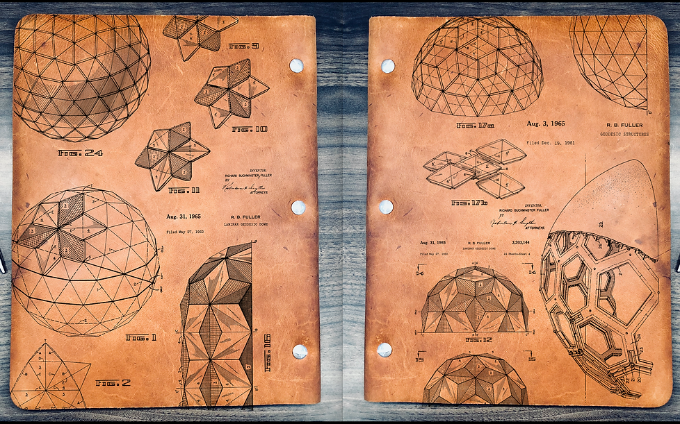 Bucky Ball design based off the 1985 patent drawings of the buckminsterfullerene. Laser engraved in 5-6 oz. Oil Tanned Leather Binders. Easily replace/add/remove three hole punch paper with a twist of our stainless steel posts.