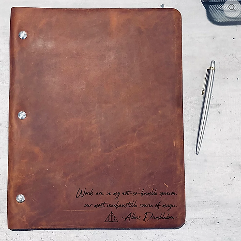 Dumbledore Handwriting-Campfire Slim Cut - Refillable Leather Binder