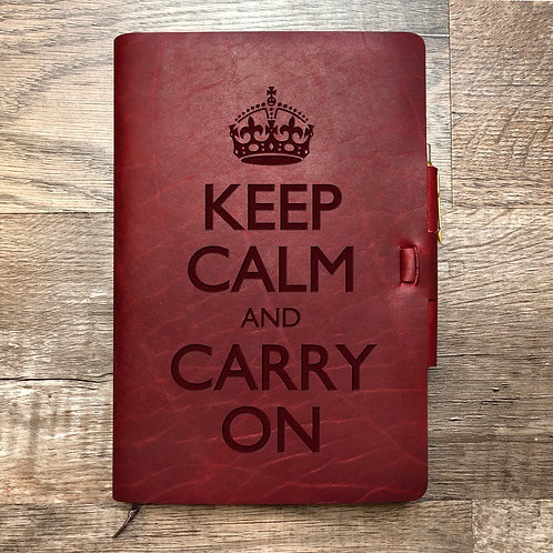 Keep Calm and Carry On - Refillable Leather Journal