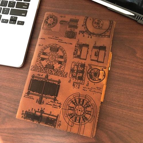 Custom Geodesic front Tesla (front design) on back - Refillable Leather Journal