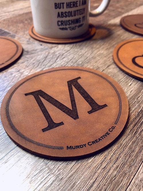 Custom Leather 4 Coaster Set - 4 Monogram Engravings