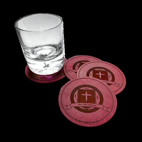 CHS Bordeaux Custom Leather 4 Coaster Set - CHS Logo