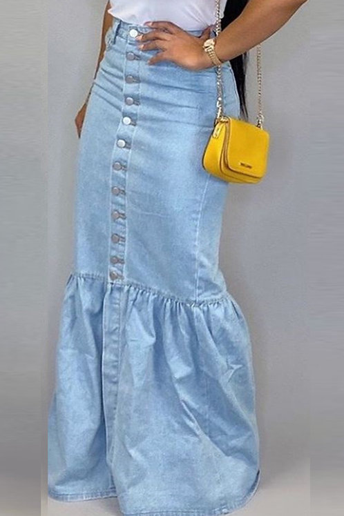 Long Maxi  Denim Skirt