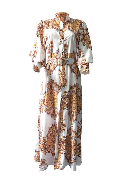 Maxi High Waist  Puff Sleeve Dress