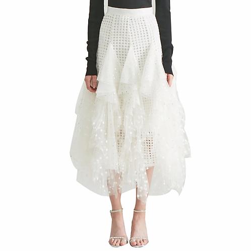 Hollow out Polka Dot High Waist Skirt