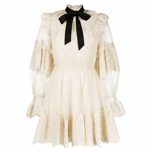 Retro Lace  Short Dress
