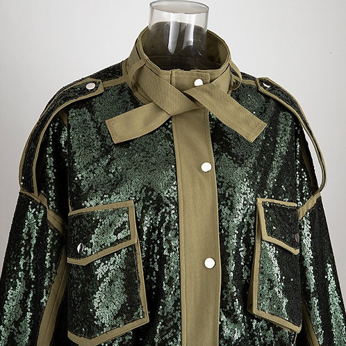 Patchwork Sequins Biker Coat