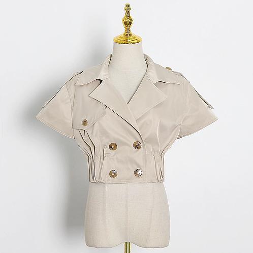 Cap Sleeve Khaki Safari Style Jacket