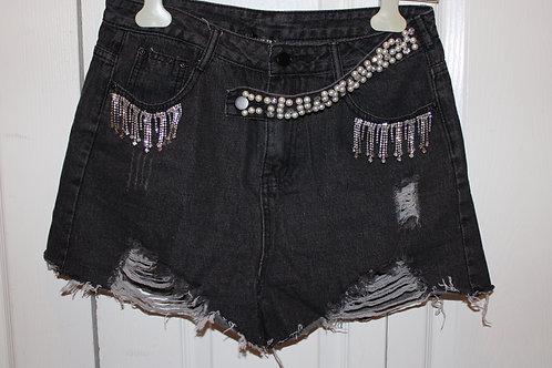 Sequin Denim Shorts