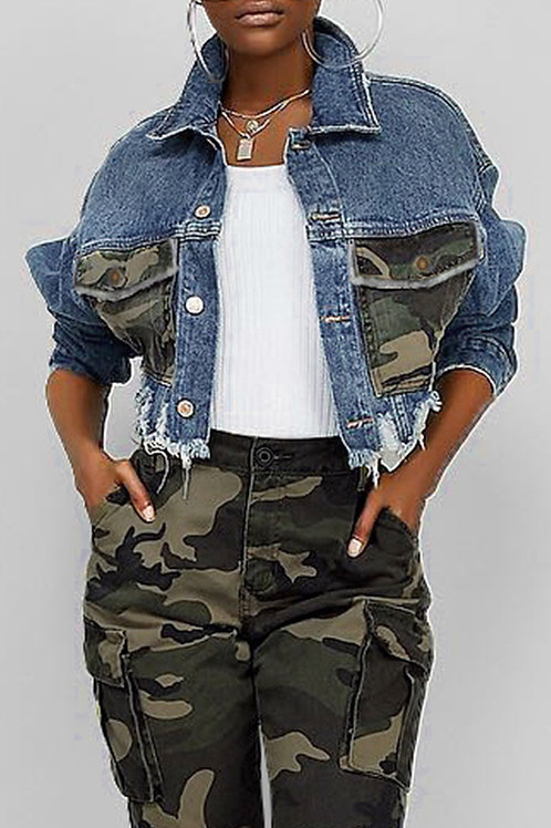 Cropped Camo Patchwork Jean Jacket