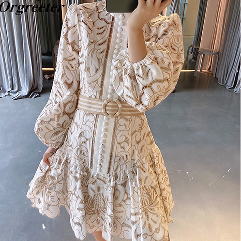 Vintage Embroidery Patchwork Hollow Dress