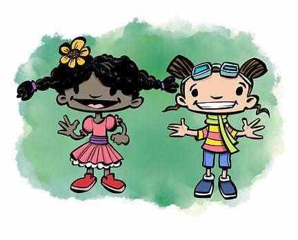 Amandine et Rosalie character designs co