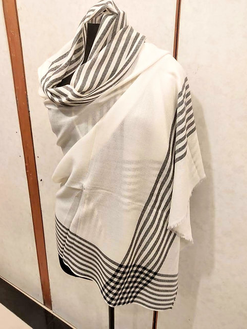 Meditation stole - white, black stripes