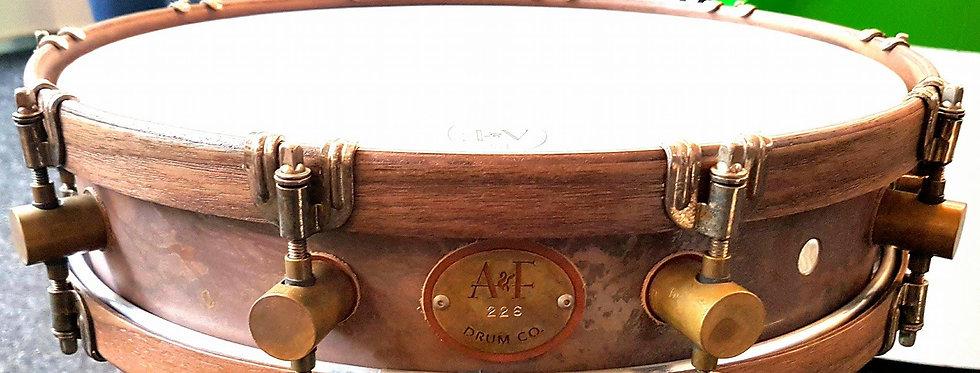 A&F Drum Co. 15x3.5 Limited Edition Raw Brass w/ Walnut Hoops
