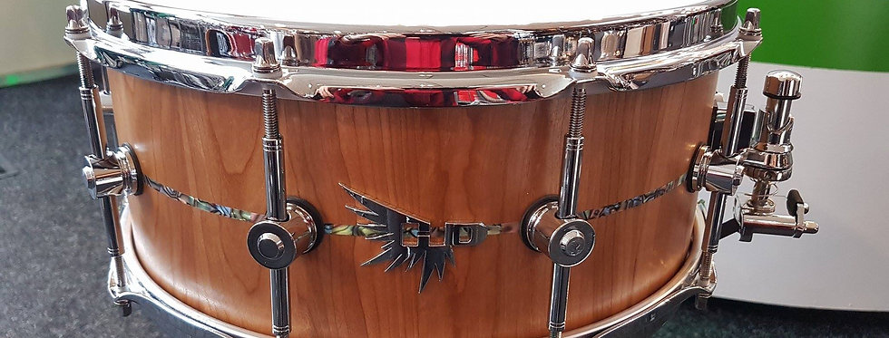 Hendrix Drums 14x6 Cherry Stave w/ Abalone inlay