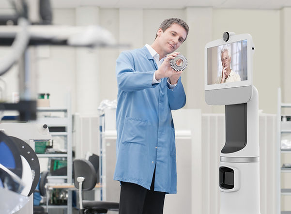 Man presenting viAva Telepresence Virtual Teleprsenc Robots