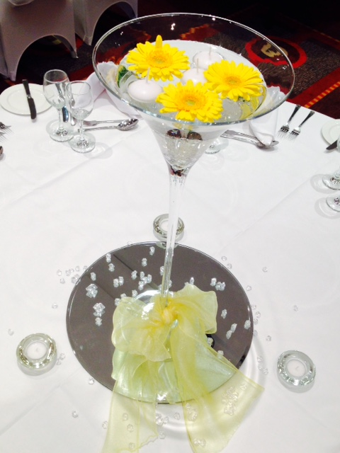 Yellow martini center piece