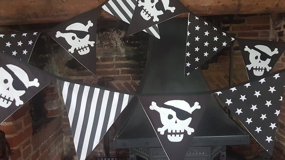Pirate Bunting in Black and White