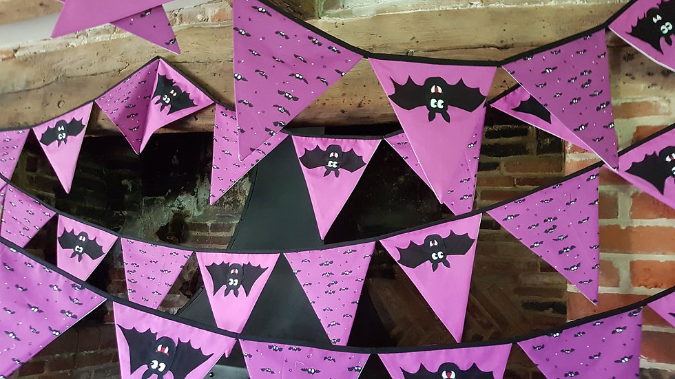 Purple Halloween Bat Bunting