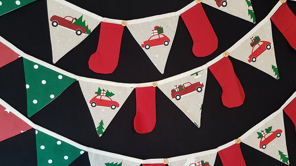 Driving Home For Christmas Mini Christmas Bunting