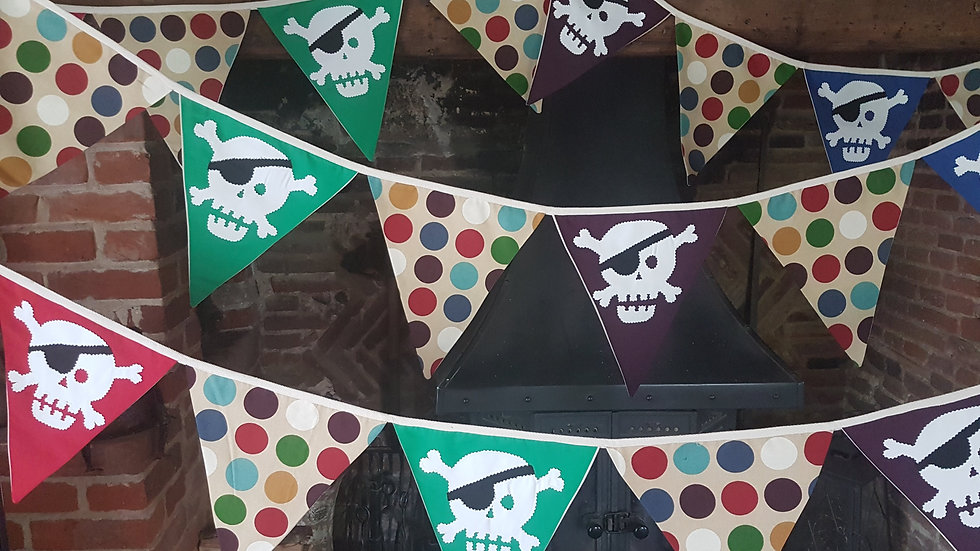 Pirate Bunting in Green, Purple,Blue and Red