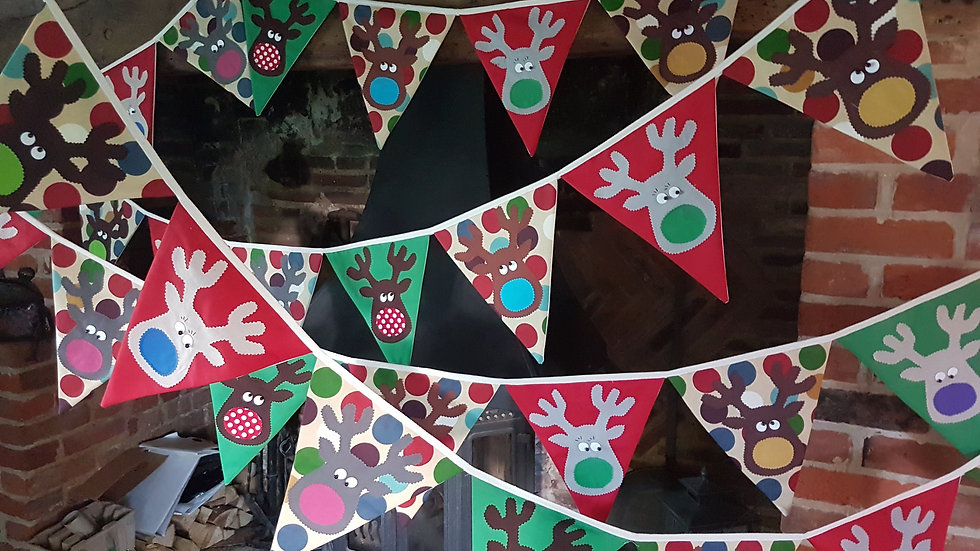 Rudolf and the Gang Giant Bunting - Red Green and Spot