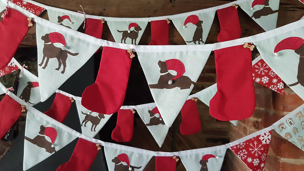 Chocolate Labrador on Pale Blue Christmas Bunting