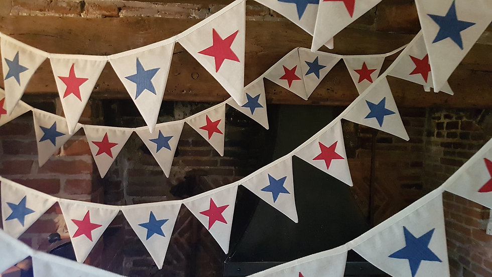 Bue and Red Midi Star Bunting