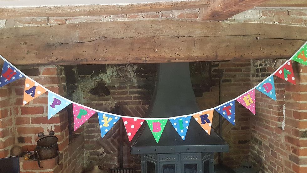 Happy Birthday Bunting - Vibrant Colourway