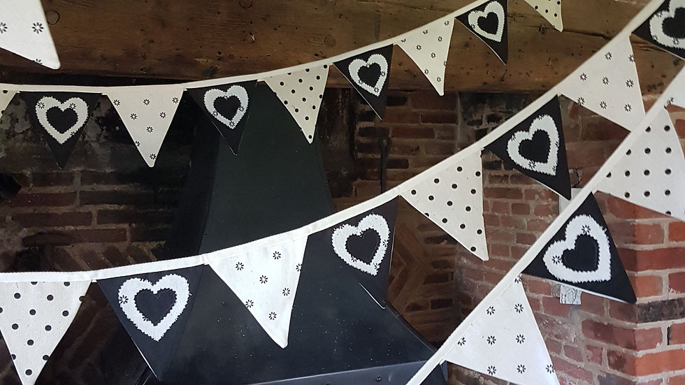 Black and Beige Love Heart Mini Bunting