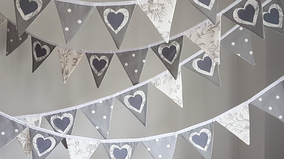 Classic Grey Love Heart Mini Bunting