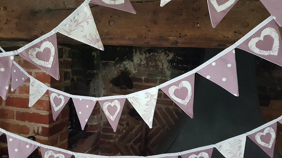 Classic Mauve Love Heart Mini Bunting