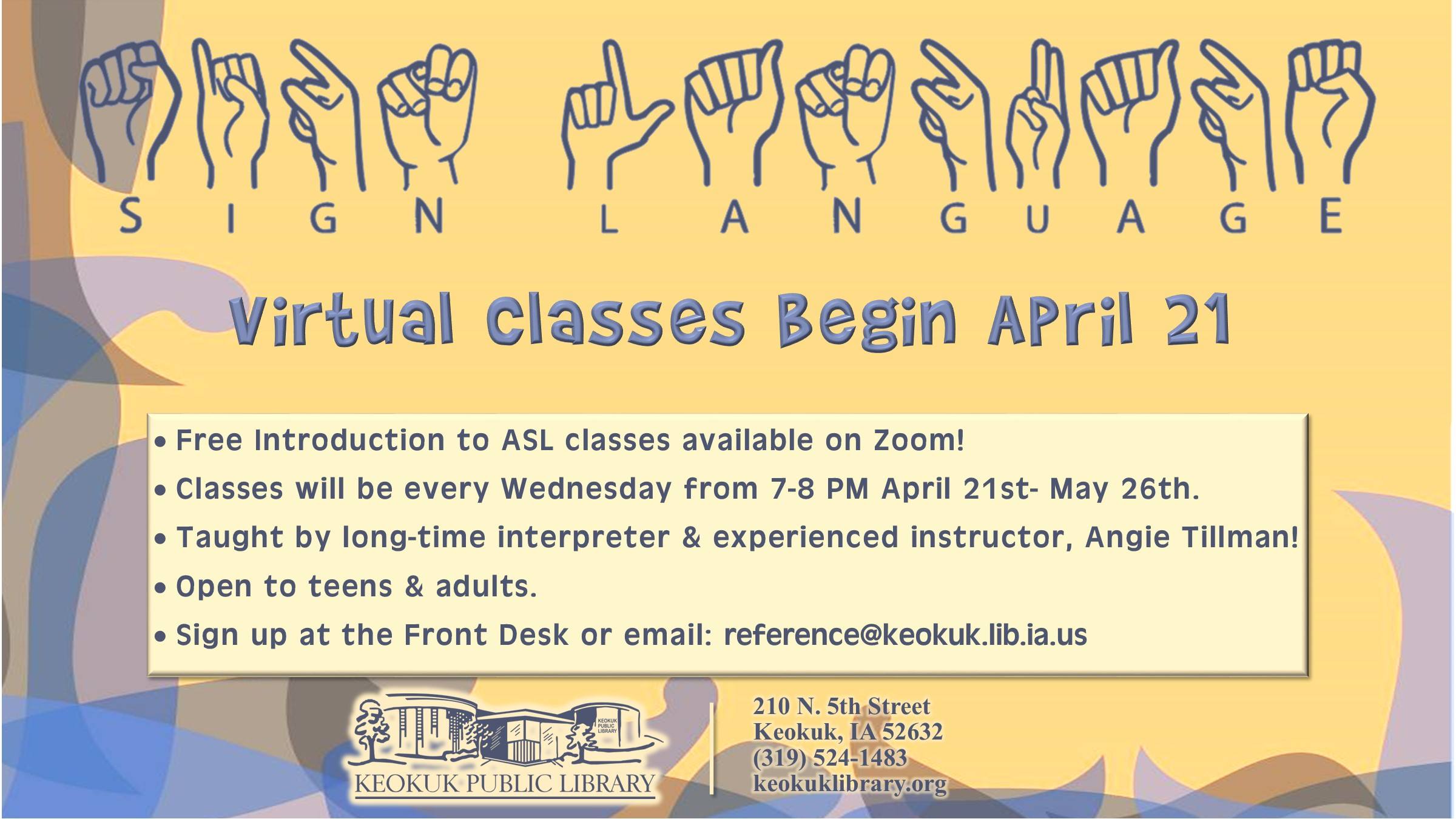 Virtual American Sign Language Classes