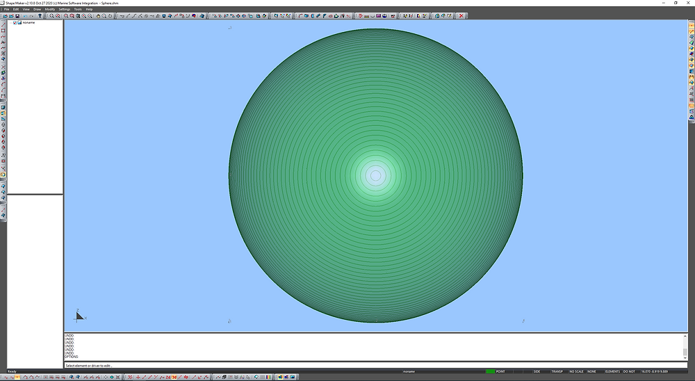 10 meters radiuse sphere with lines of equial angle.