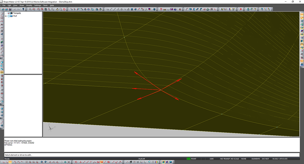 Frame line tangency vector is not in correct plane. Knuckles on waterlines as result not smooth connection.